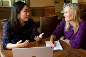 Mentor Eriko speaks to Mentee Rebekah.
