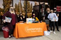 Brea Senior Center Vaccination Check-in table