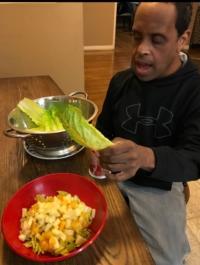 Jeffrey prepares a salad