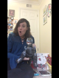 Therapist Melissa Distel and her T-Rex toy.