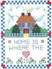 "Cross stitch canvas that says ""Home is Where the Heart Is"""